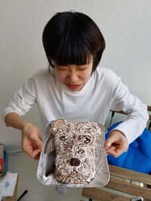 愛犬の顔型立体ケーキ