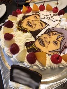 似顔絵とガンダムのコラボケーキ