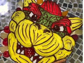クッパの顔型立体ケーキ