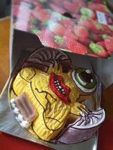 寄生獣ミギーの顔型立体ケーキ