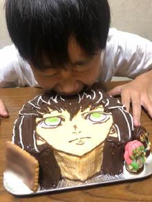 鬼滅の刃・無一郎のマスコット人形付きケーキ