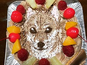 犬の似顔絵ケ−キ