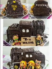 鬼滅の刃のマスコット人形付き立体ケーキ
