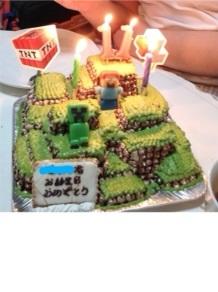 マインクラフトの立体ケーキ