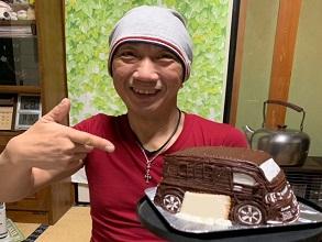 ケーキを見るまでにも丁寧さが感じられました。(愛車の立体ケーキ)(乗物立体ケーキ)