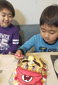 マリオの顔型立体ケーキ